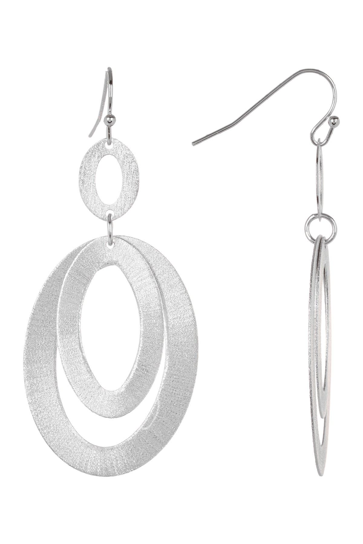 Image of Rivka Friedman White Rhodium Clad Layered Textured Oval Link Earrings