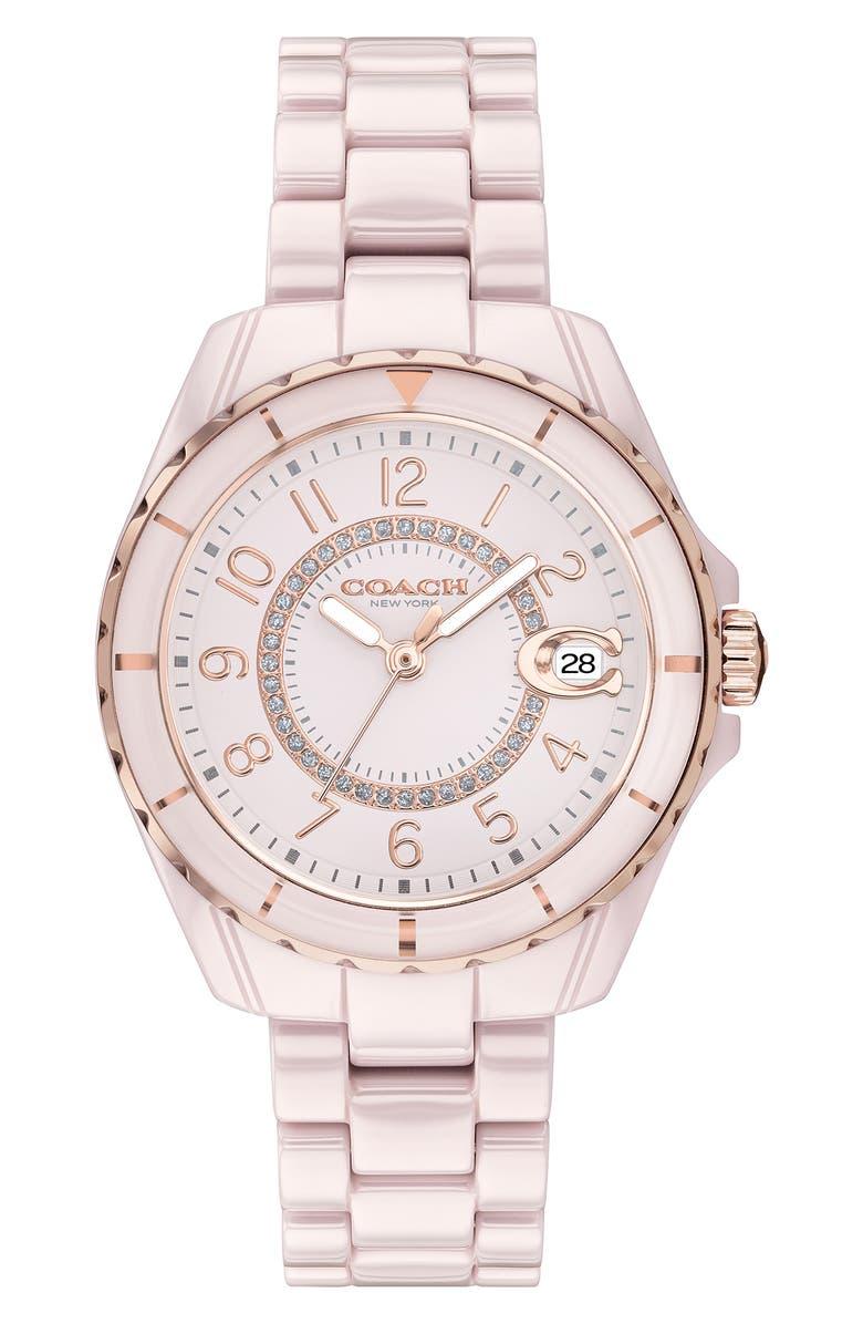 COACH Preston Ceramic Bracelet Watch, 32mm, Main, color, PINK/ BLUSH/ SILVER