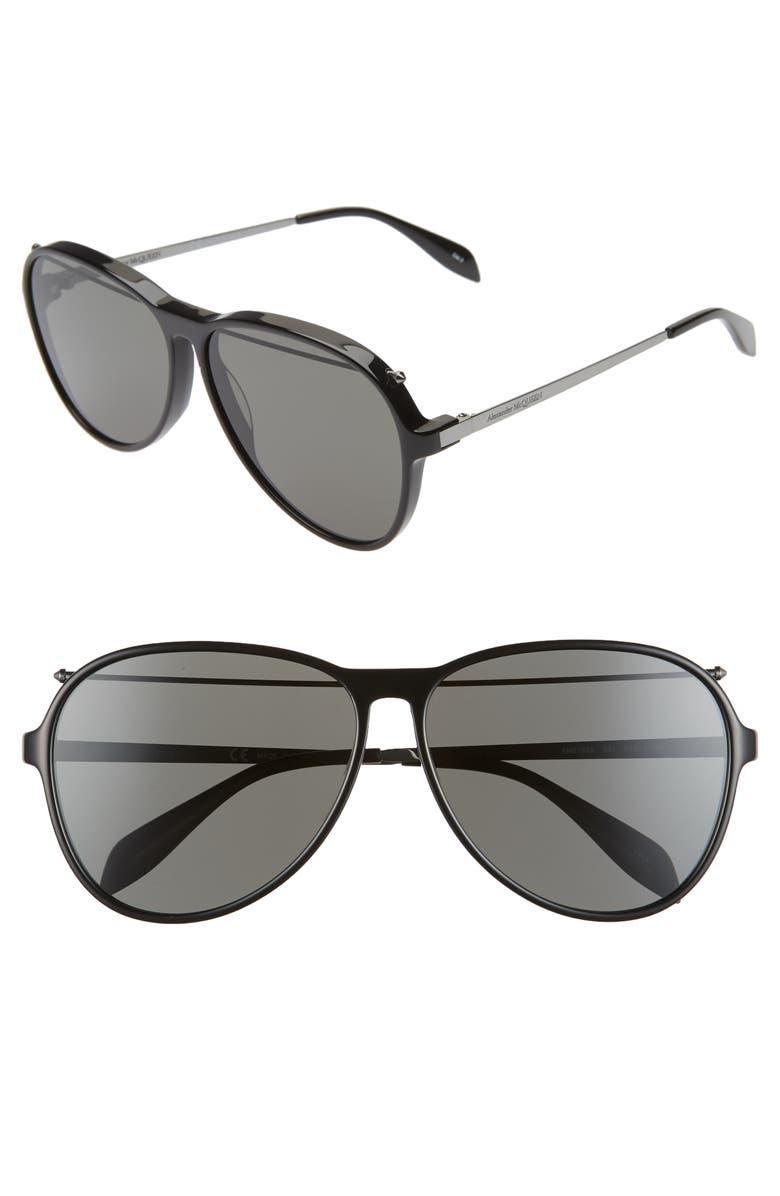 ALEXANDER MCQUEEN 61mm Gradient Aviator Sunglasses, Main, color, SHINY BLACK