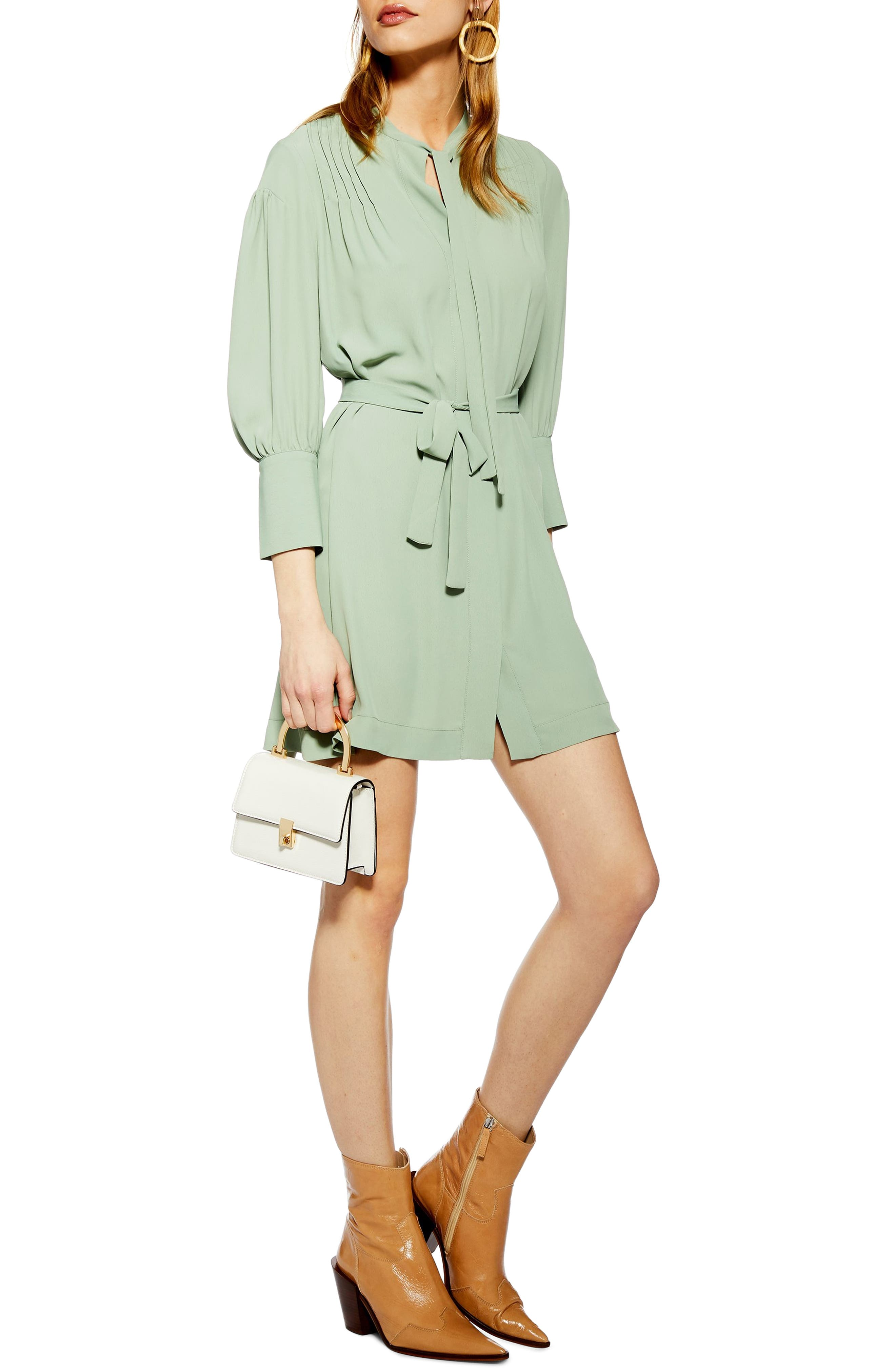 Pintuck Belted Minidress, Main, color, GREEN MULTI