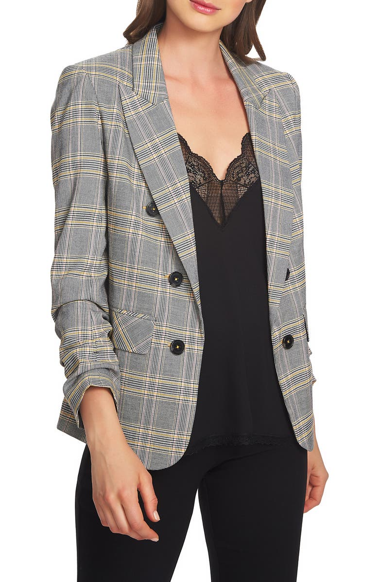 1.STATE Menswear Plaid Ruched Sleeve Blazer, Main, color, 006