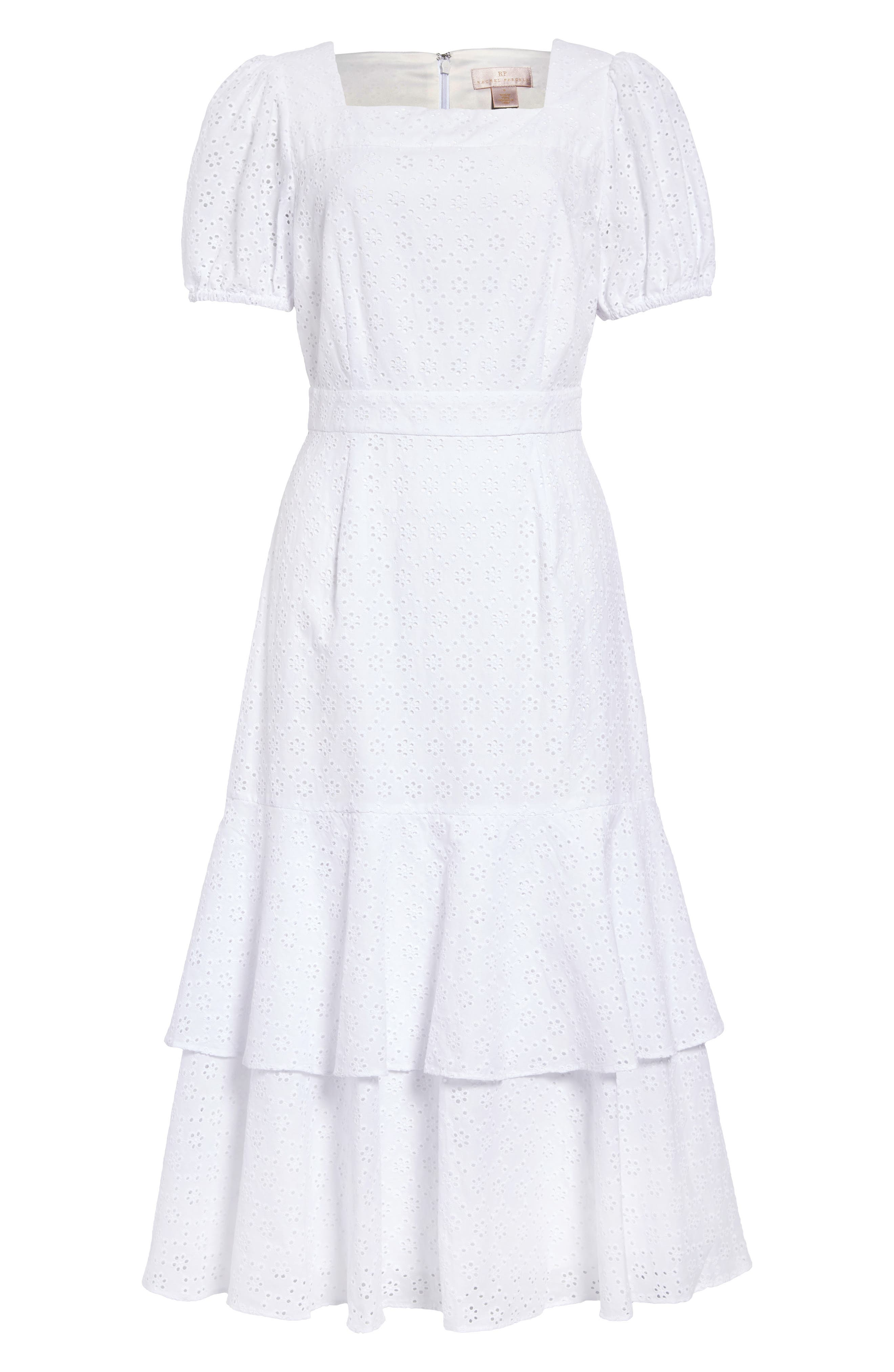 Vintage Tea Dresses, Floral Tea Dresses, Tea Length Dresses Womens Rachel Parcell Tiered Eyelet Midi Dress Size - Nordstrom Exclusive $104.30 AT vintagedancer.com