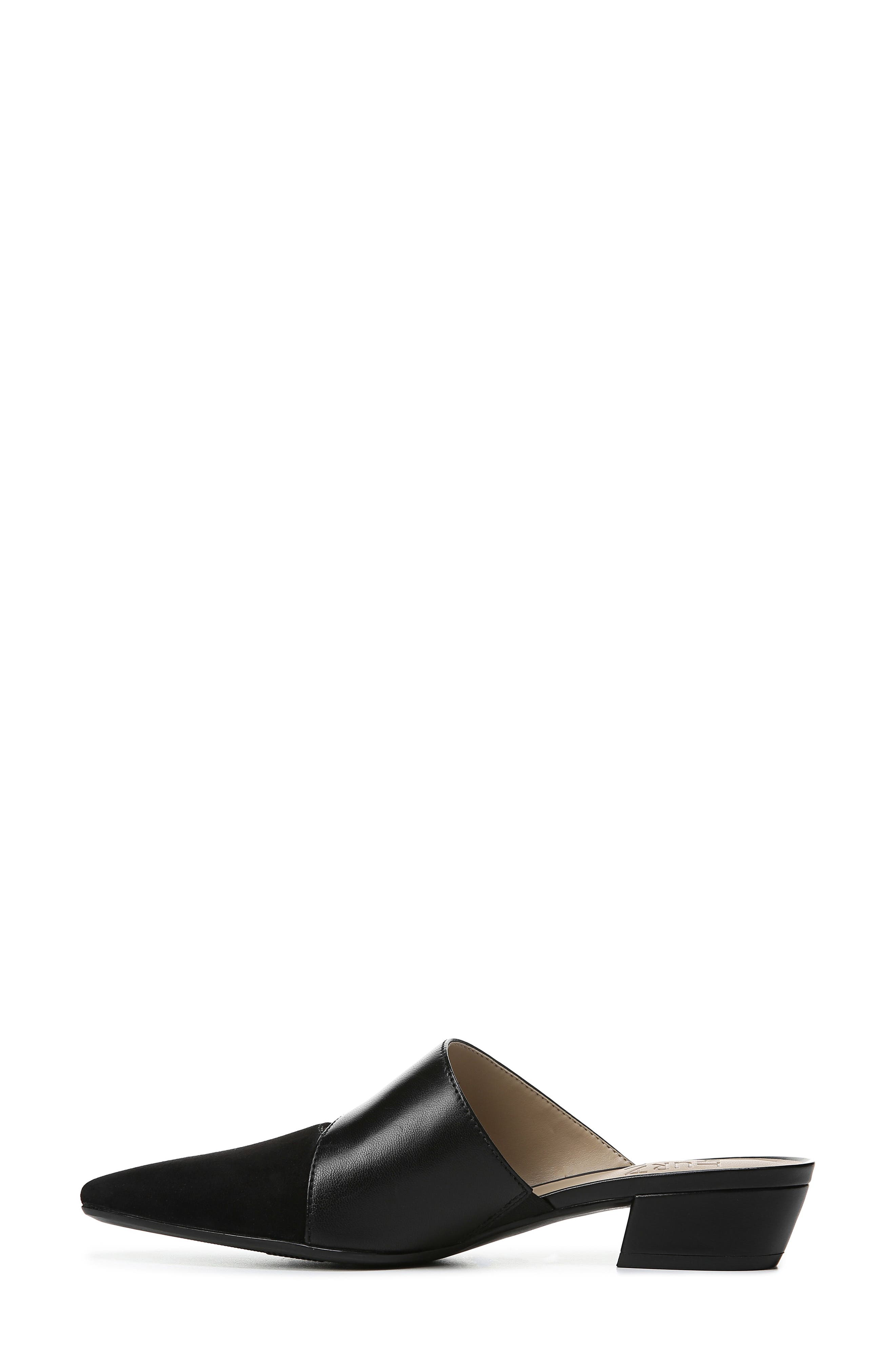 ,                             Bev Pointy Toe Mule,                             Alternate thumbnail 9, color,                             BLACK SUEDE/ LEATHER