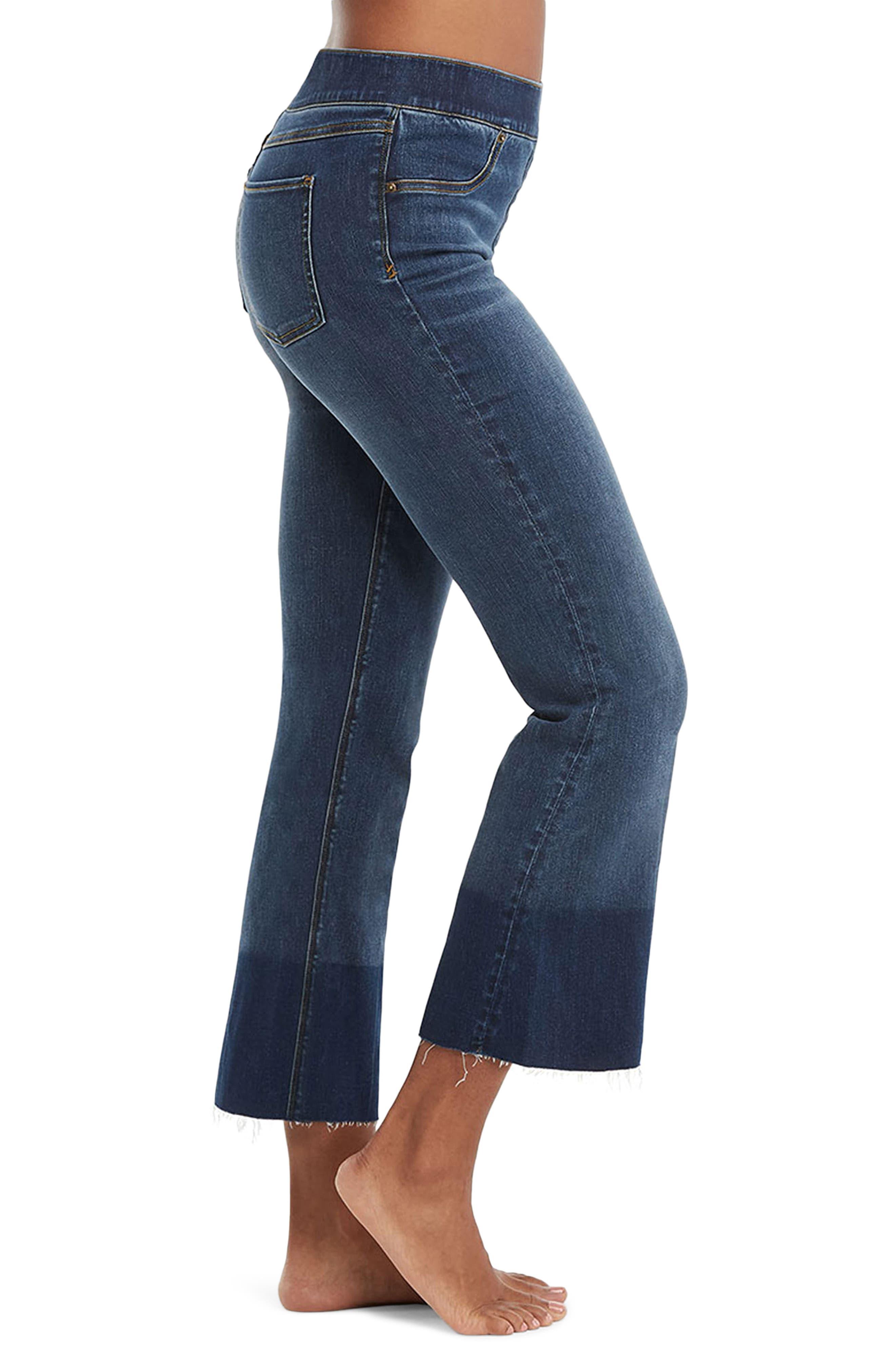SPANX Crop Flare Raw Hem JEANS Leggings M XL Denim Blue Medium Wash NEW