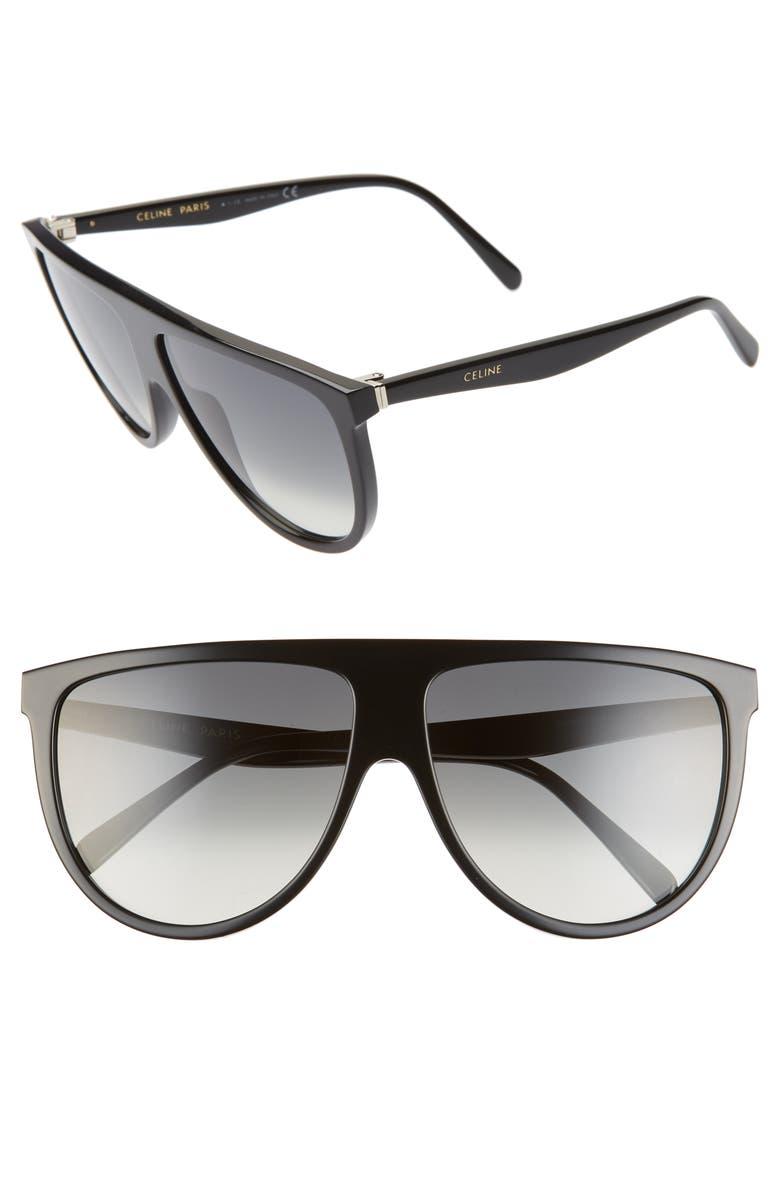 CELINE 62mm Oversize Flat Top Sunglasses, Main, color, SHINY BLACK/ GRADIENT GREEN