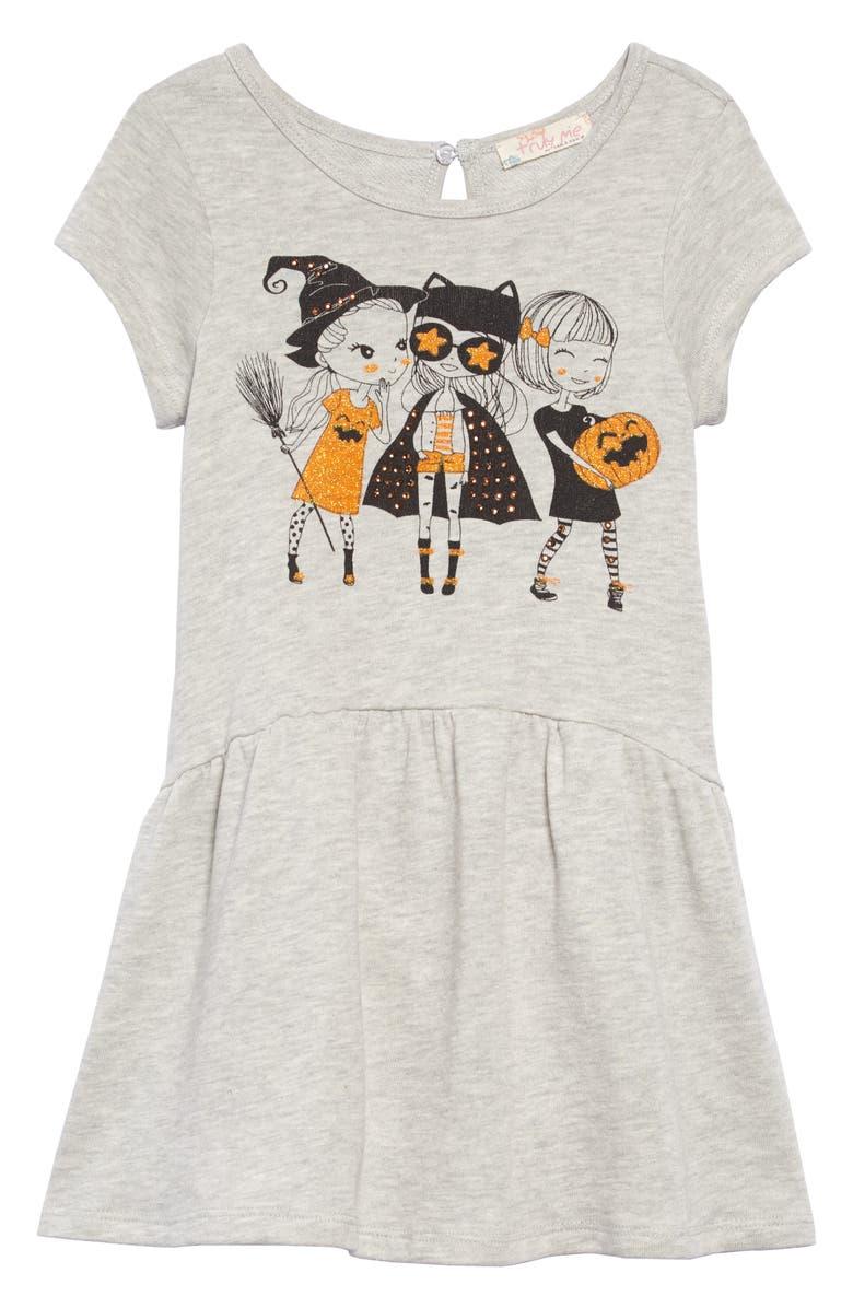 TRULY ME Halloween Graphic Drop Waist Dress, Main, color, GREY