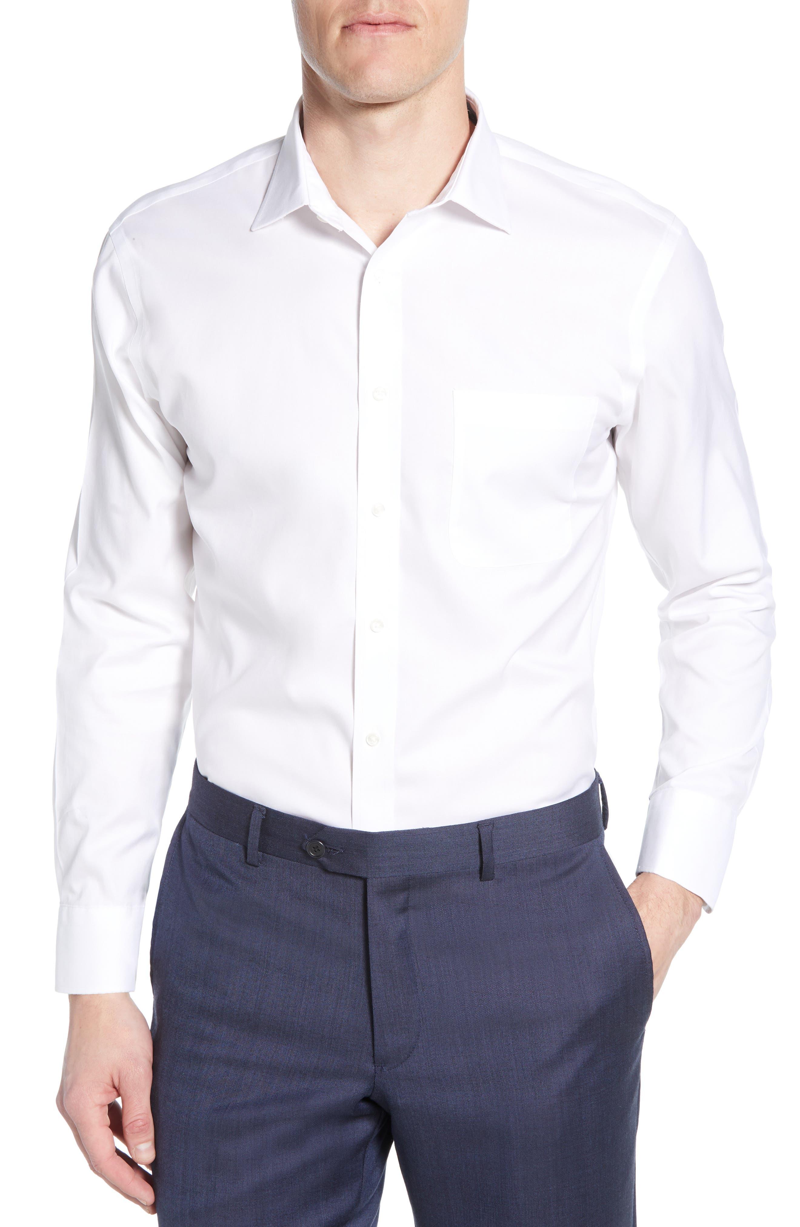 ,                             Smartcare<sup>™</sup> Trim Fit Solid Dress Shirt,                             Main thumbnail 1, color,                             WHITE BRILLIANT