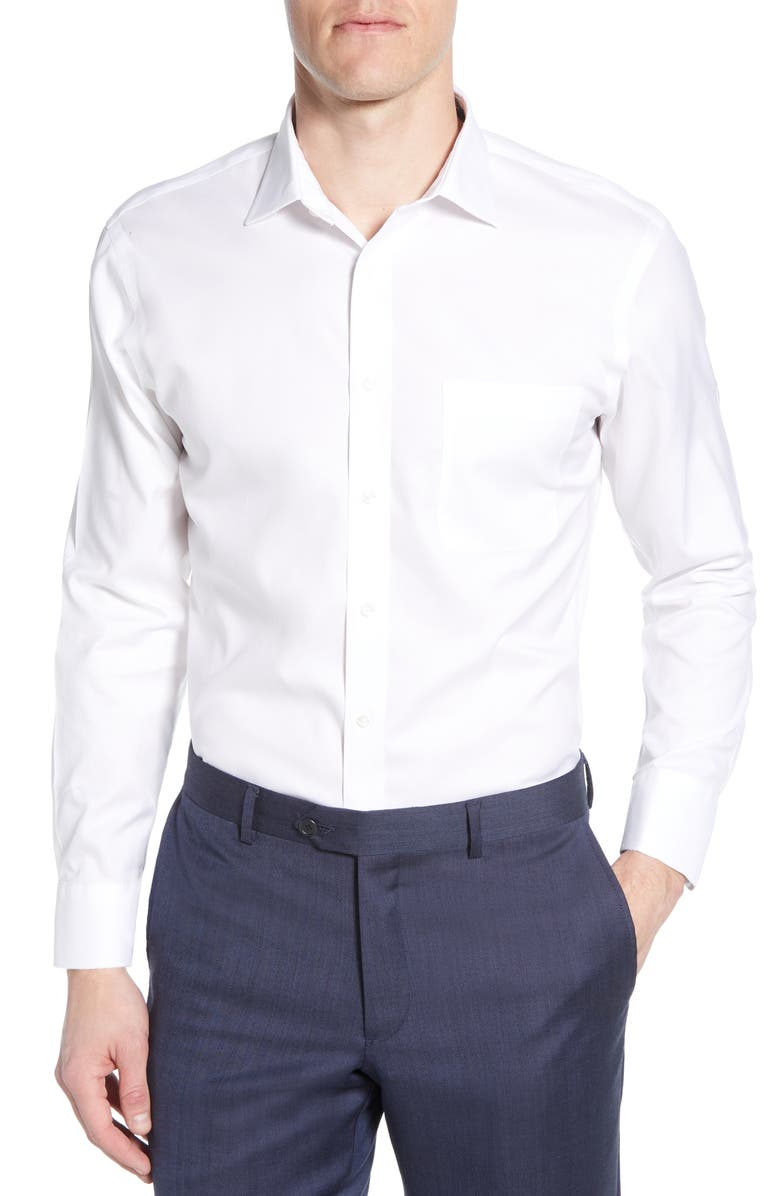 NORDSTROM MEN'S SHOP Smartcare<sup>™</sup> Trim Fit Solid Dress Shirt, Main, color, WHITE BRILLIANT