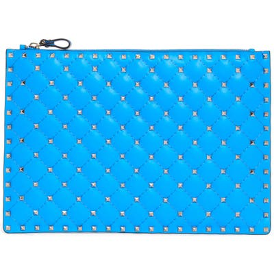 Valentino Garavani Large Rockstud Spike Leather Flat Pouch - Blue