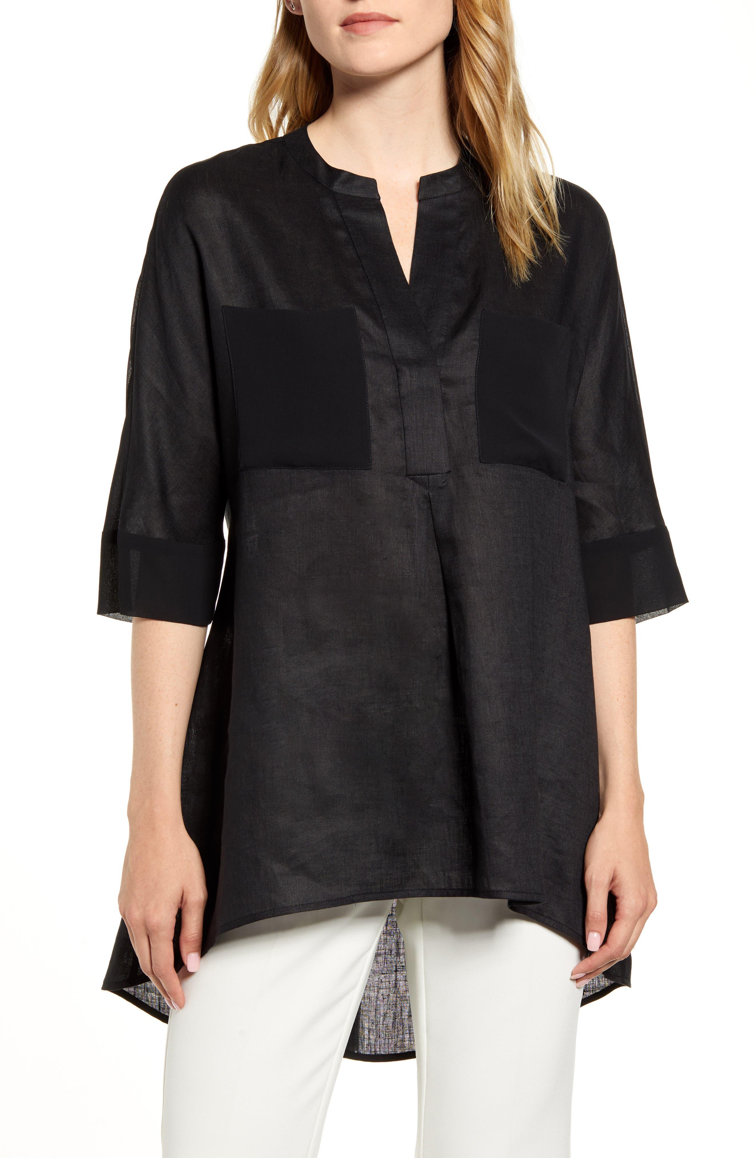 Asymmetrical Hem Linen Tunic Top