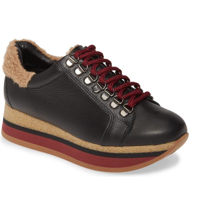 CORDANI Jolene Wedge Sneaker, Main, color, BLACK LEATHER