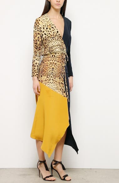 Leopard Colorblock Long Sleeve Silk Dress, video thumbnail