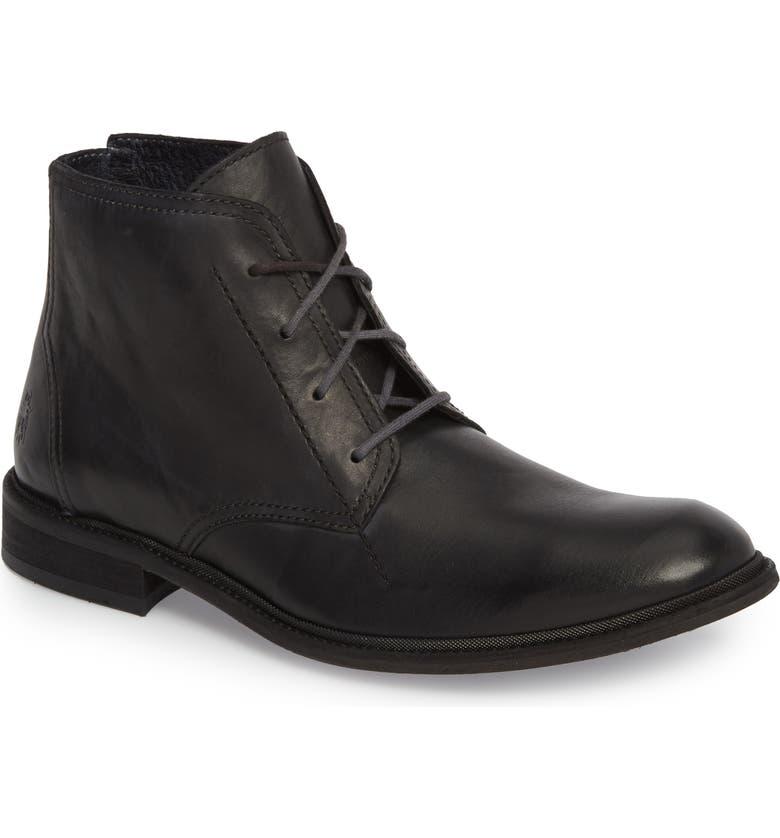 FLY LONDON Hobi Plain Toe Chukka Boot, Main, color, BLACK LEATHER