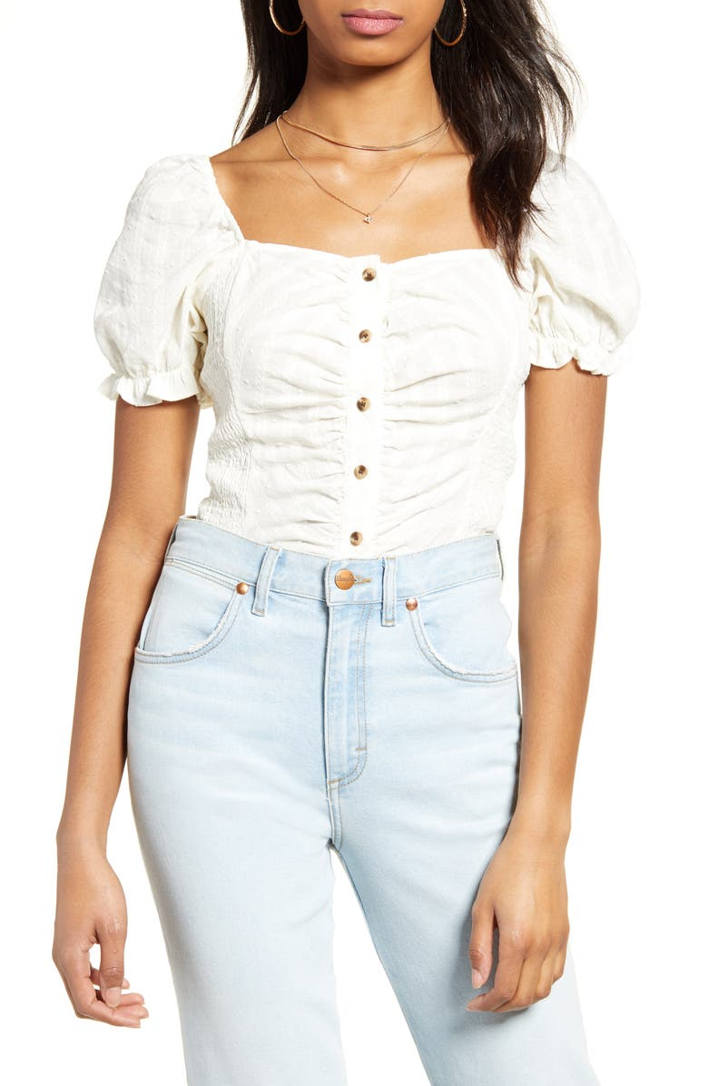 BP. Swiss Dot Ruched Puff Sleeve Top, Main, color, IVORY