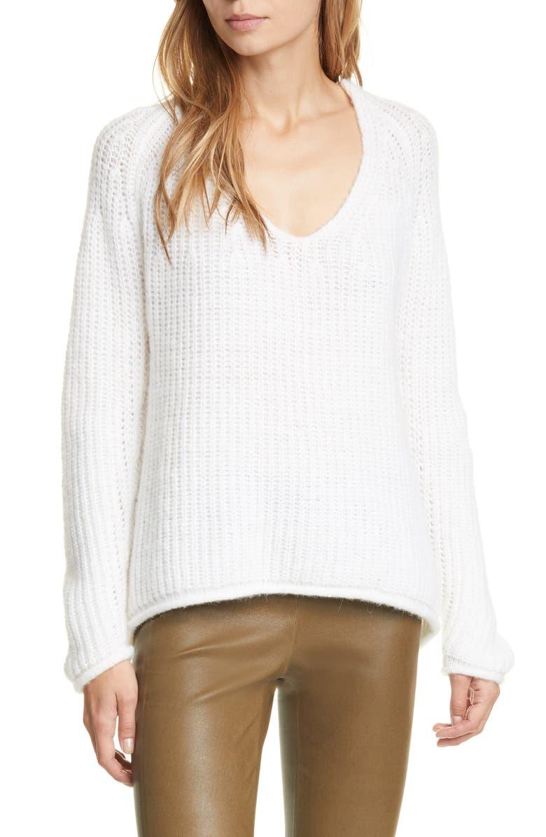 RAG & BONE Joseph Rib V-Neck Sweater, Main, color, 100
