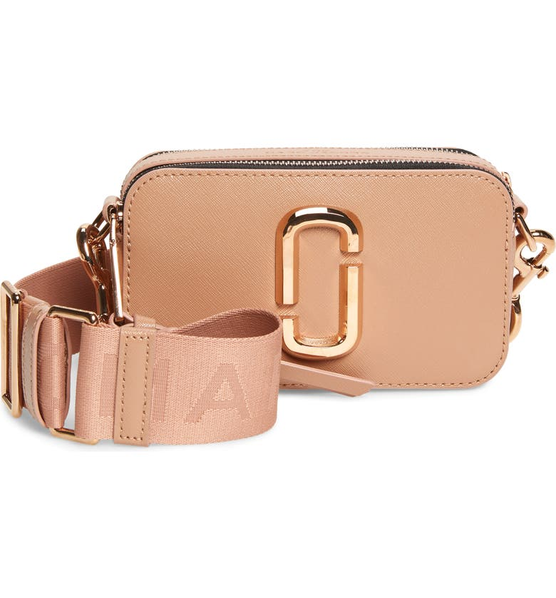 THE MARC JACOBS Snapshot Leather Crossbody Bag, Main, color, SUNKISSED