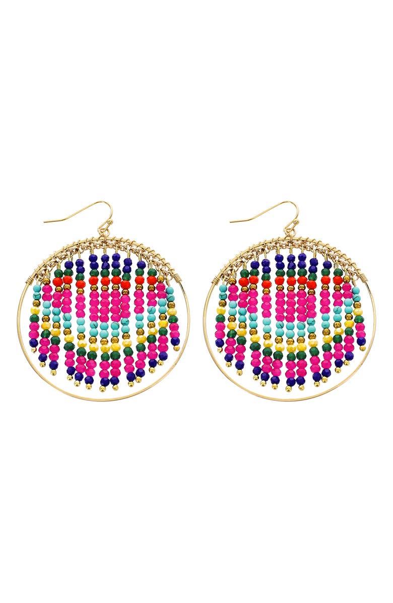 PANACEA Beaded Fringe Hoop Earrings, Main, color, PINK MULTI