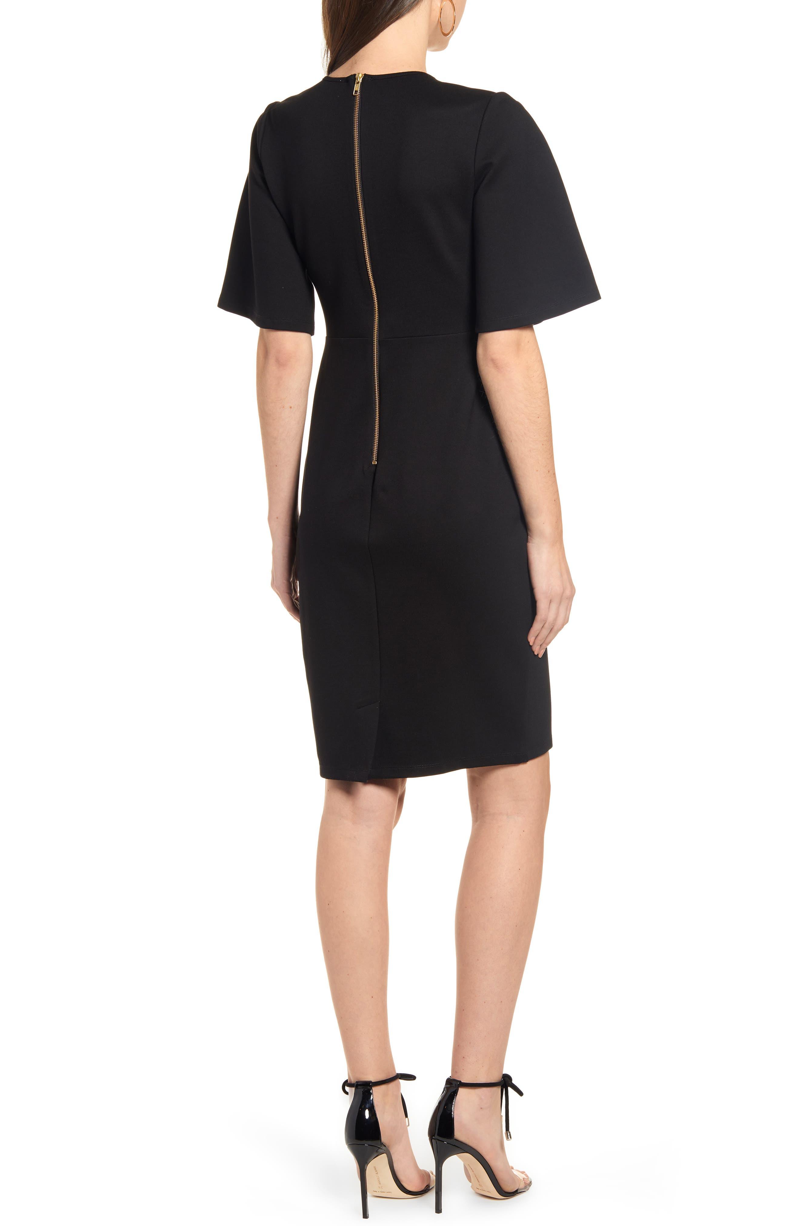 ,                             Flutter Sleeve Ponte Dress,                             Alternate thumbnail 2, color,                             BLACK