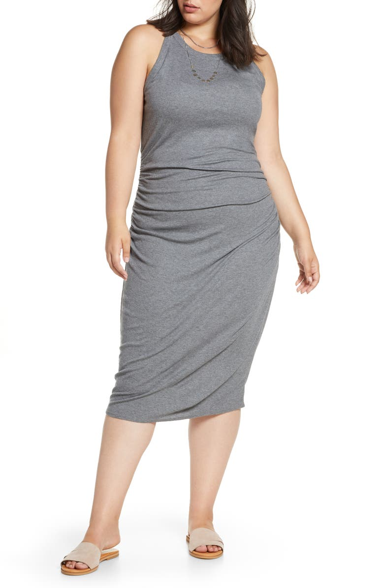 TREASURE & BOND Muscle Tank Dress, Main, color, DARK GREY HEATHER