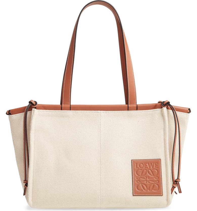 LOEWE Small Cushion Canvas Tote, Main, color, LIGHT OAT