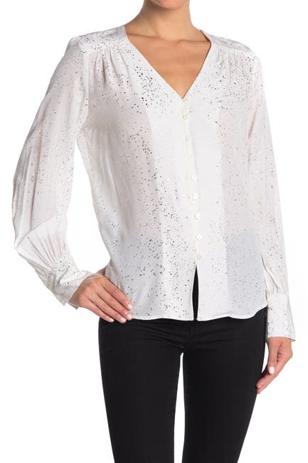Image of Fifteen Twenty Button-Front Speckled Silk Blouse