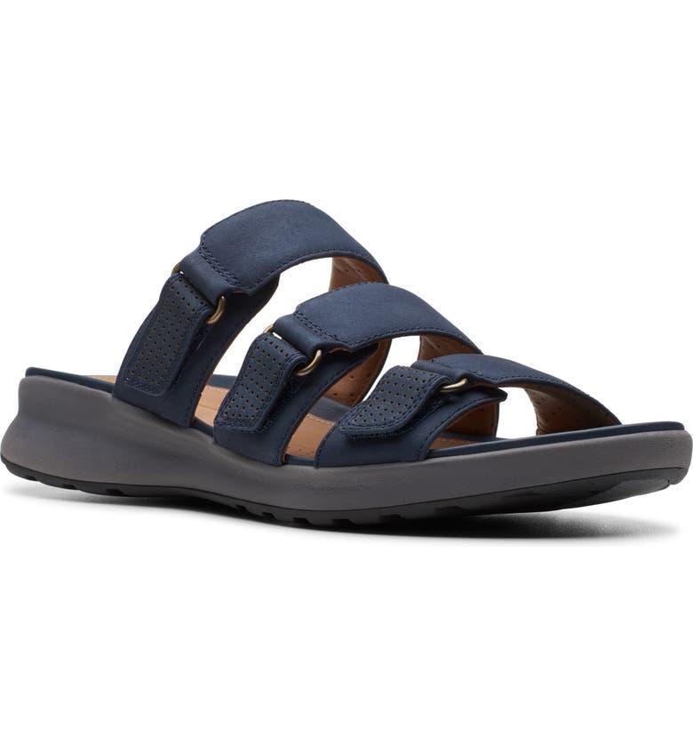 CLARKS<SUP>®</SUP> UnAdorn Lane Slide Sandal, Main, color, NAVY NUBUCK LEATHER