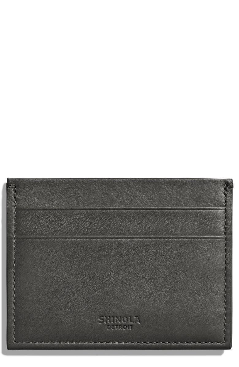 SHINOLA Leather Card Case, Main, color, ASPHALT