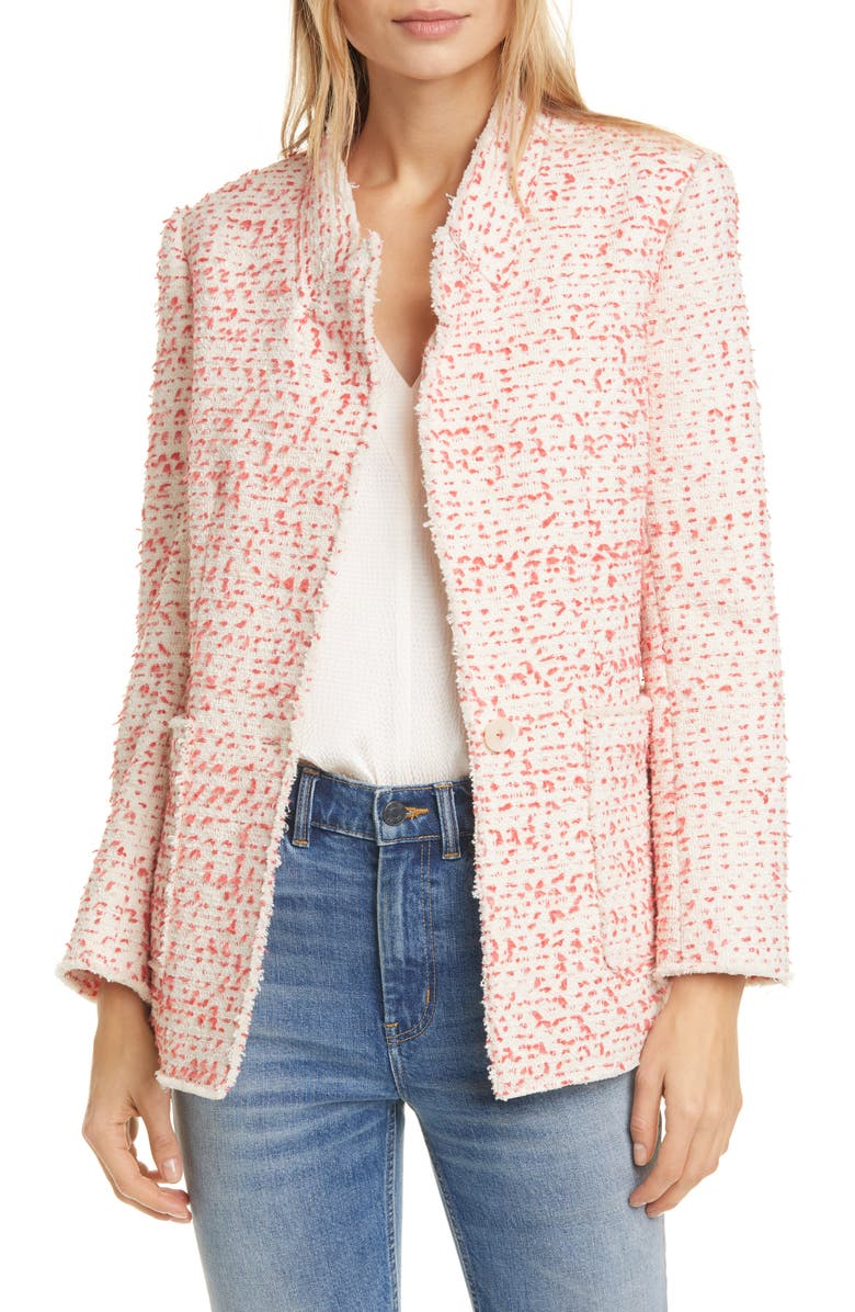 REBECCA TAYLOR Beckie Cotton Blend Tweed Jacket, Main, color, POPPY COMBO