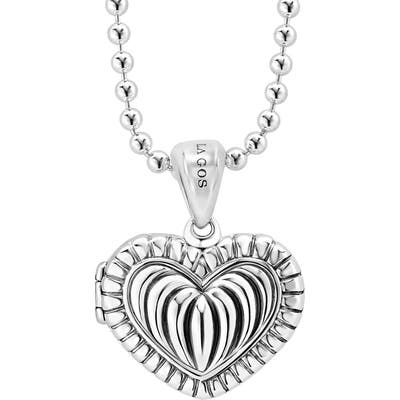 Lagos Beloved Fluted Heart Locket Necklace