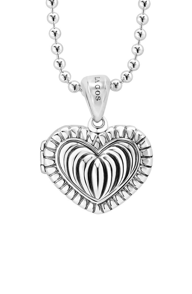 LAGOS Beloved Fluted Heart Locket Necklace, Main, color, SILVER