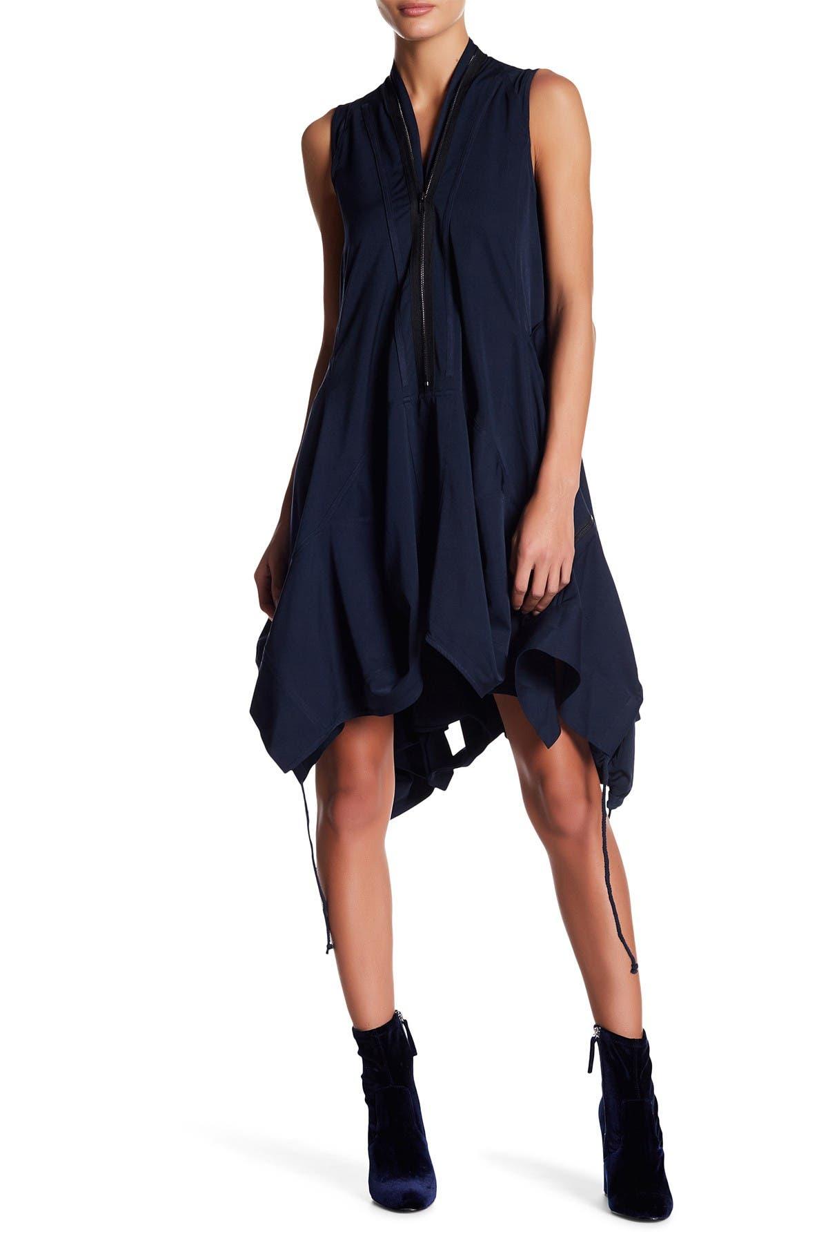 Image of Gracia Asymmetrical Zip Trim Dress