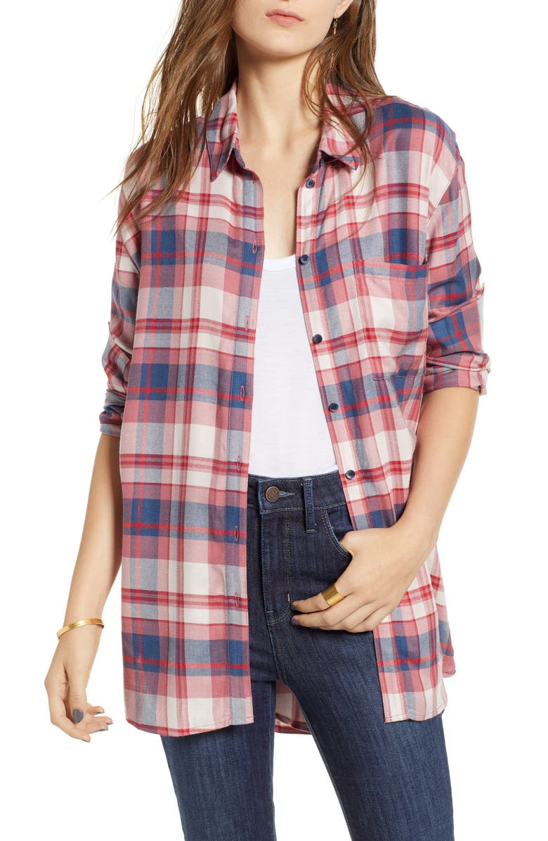 TREASURE & BOND Plaid Boyfriend Shirt, Main, color, RED CHILI FOREST PLAID