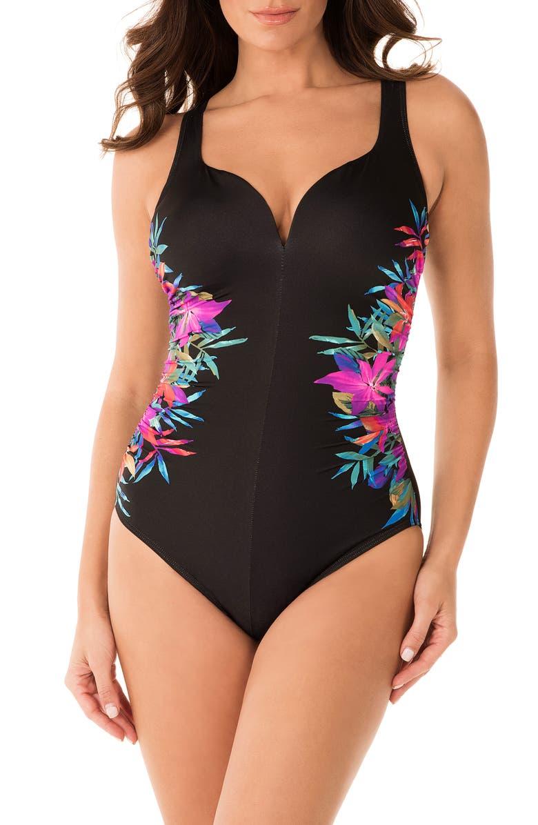 MIRACLESUIT<SUP>®</SUP> Genesis Temptress One-Piece Swimsuit, Main, color, BLACK MULTI