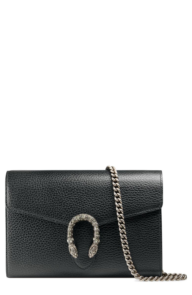GUCCI Leather Wallet on a Chain, Main, color, BLACK/ BLACK DIAMOND
