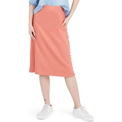 Madewell Button Slit Midi Skirt, Orange
