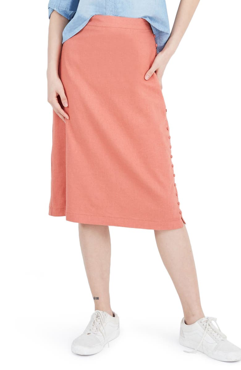 Madewell Button Slit Midi Skirt