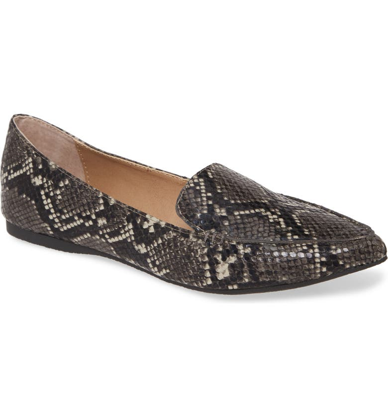 STEVE MADDEN Feather Loafer Flat, Main, color, GREY SNAKE PRINT