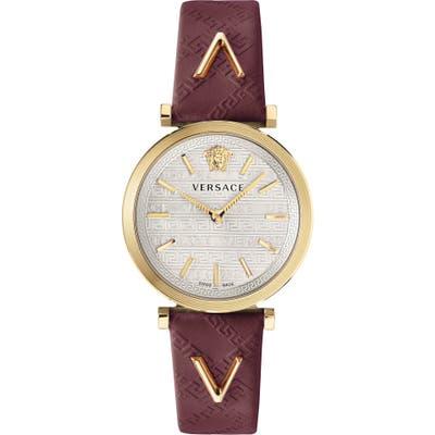 Versace V Twist Leather Strap Watch,