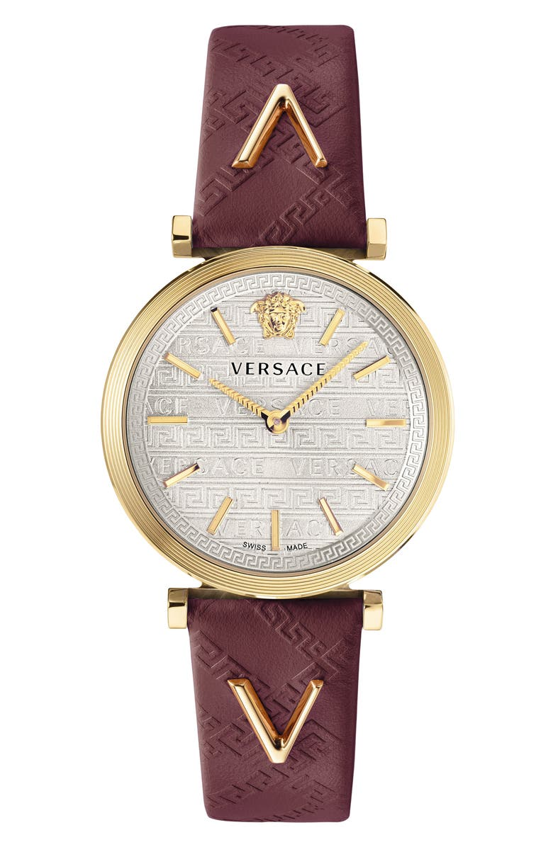 VERSACE V Twist Leather Strap Watch, 36mm, Main, color, BURGUNDY/ SILVER/ GOLD
