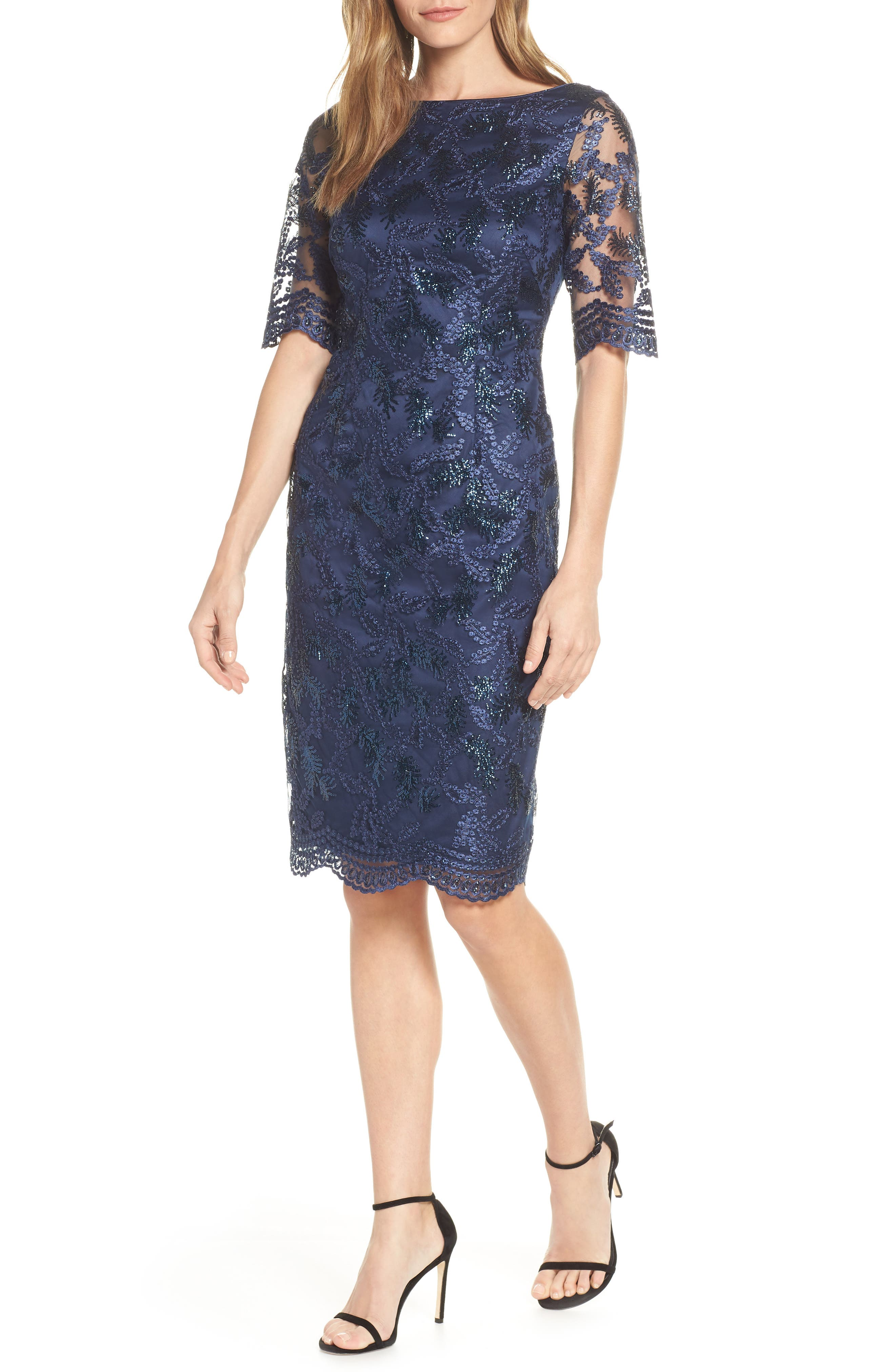 Vince Camuto Sequin Embroidered Cocktail Dress, Blue
