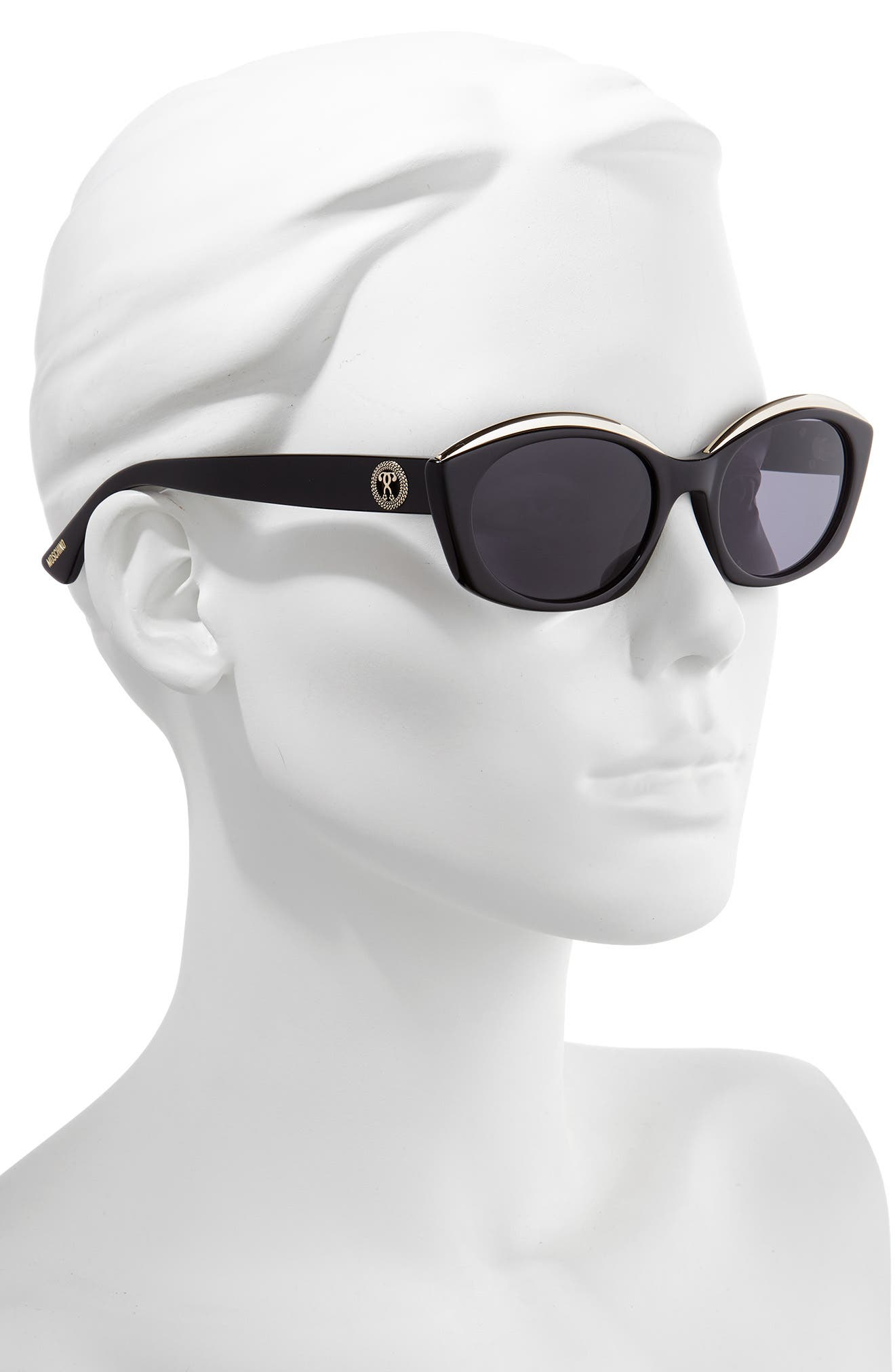 ,                             Core 53mm Oval Sunglasses,                             Alternate thumbnail 2, color,                             BLACK