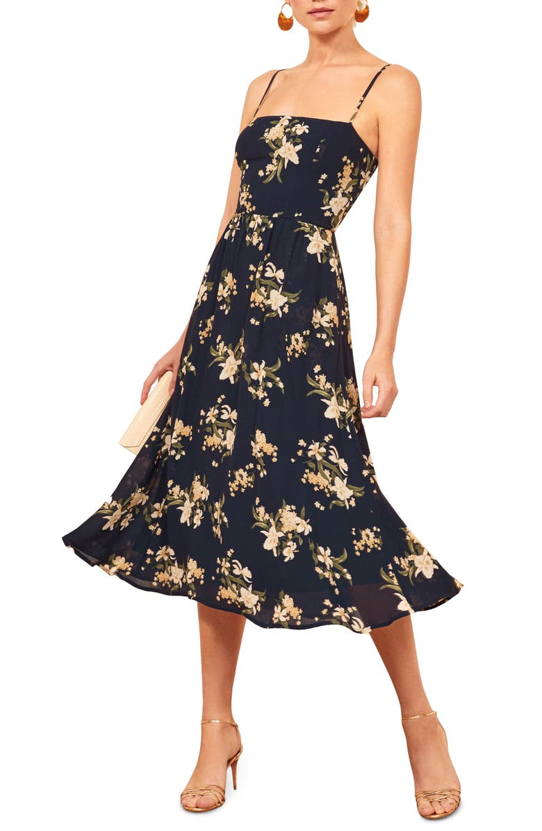 REFORMATION Rosehip Fit & Flare Dress, Main, color, YOLANDA