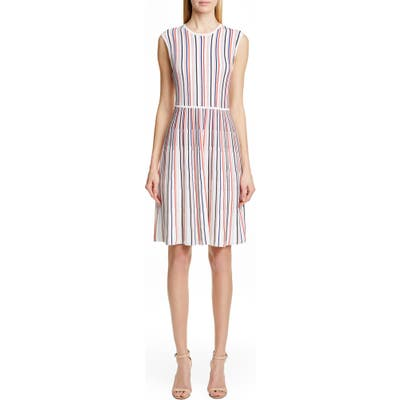 Lela Rose Stripe Silk Blend Sweater Dress, White