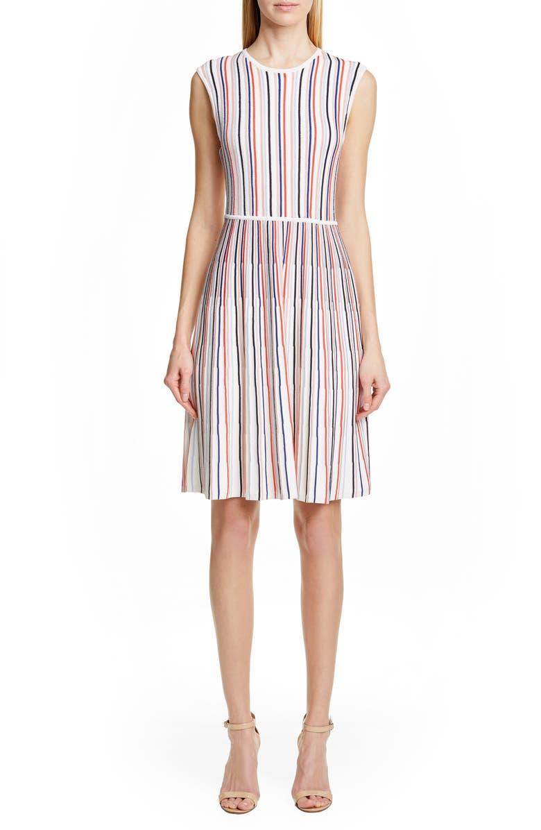 LELA ROSE Stripe Silk Blend Sweater Dress, Main, color, MULTI