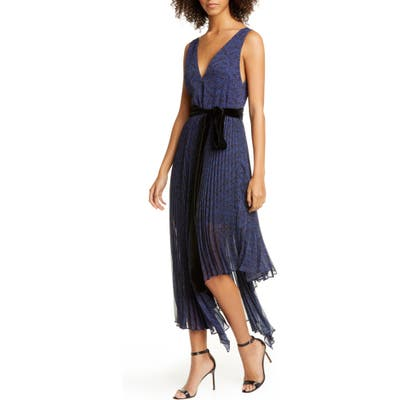 Alice + Olivia Aiden Asymmetrical Chiffon Midi Dress, Blue