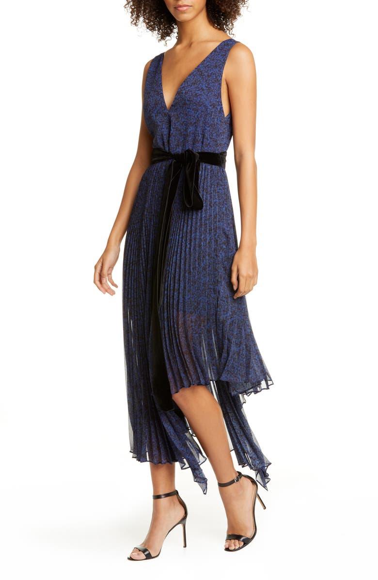 ALICE + OLIVIA Aiden Asymmetrical Chiffon Midi Dress, Main, color, PETITE DREAM AZRE
