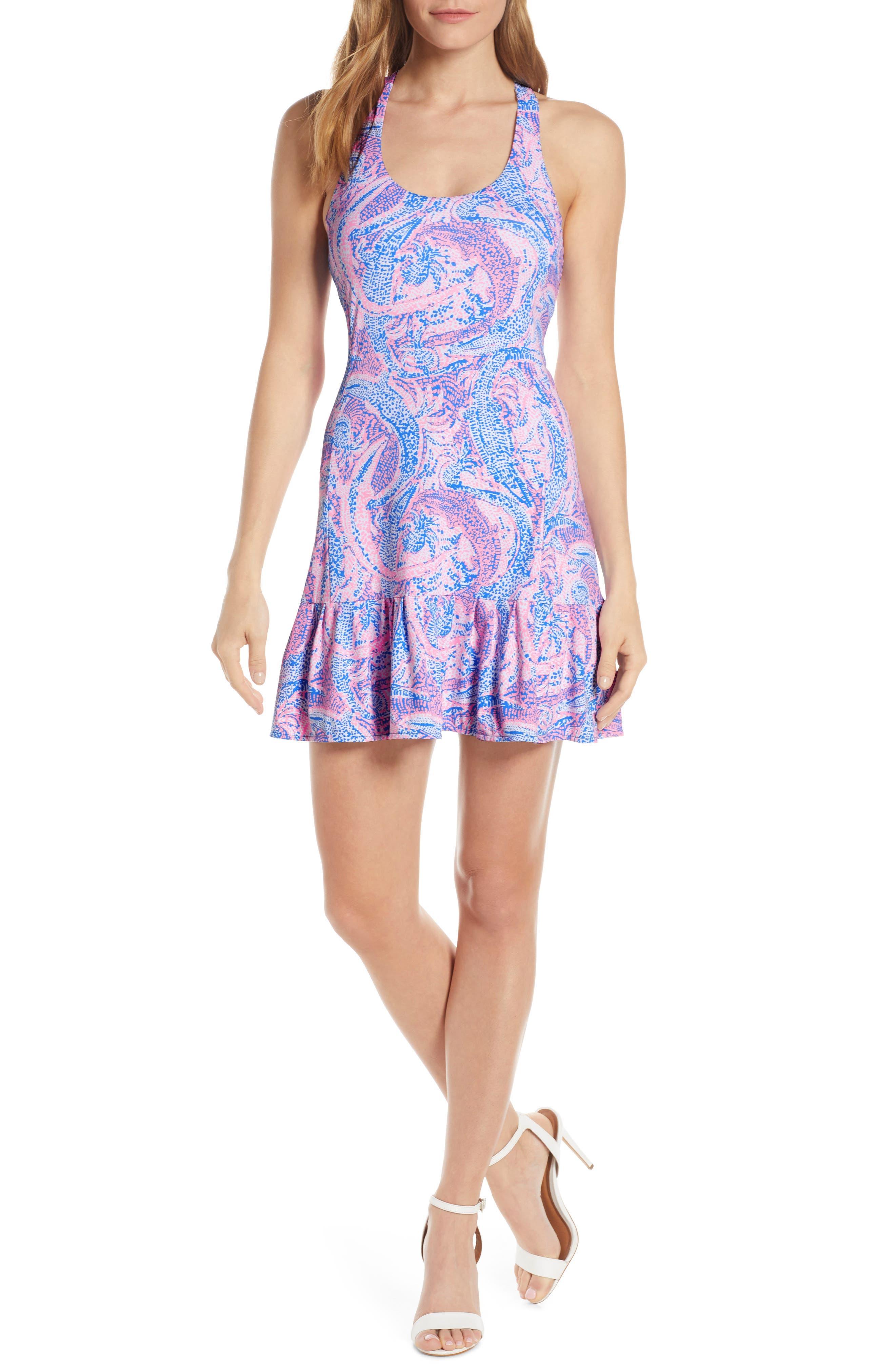 Lilly Pulitzer Meryl Upf 50+ Ace Tennis Dress & Shorts Set, Blue
