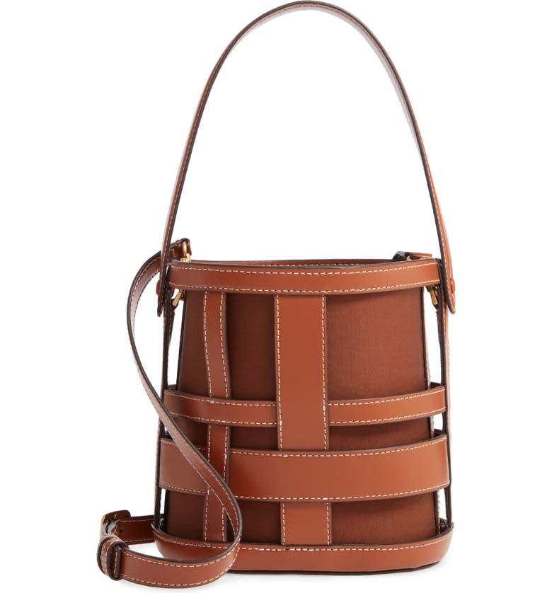 STAUD Brody Plaid Leather Bag, Main, color, TAN/ CHESTNUT