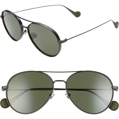 Moncler 57mm Polarized Aviator Sunglasses - Black/ Green Polarized