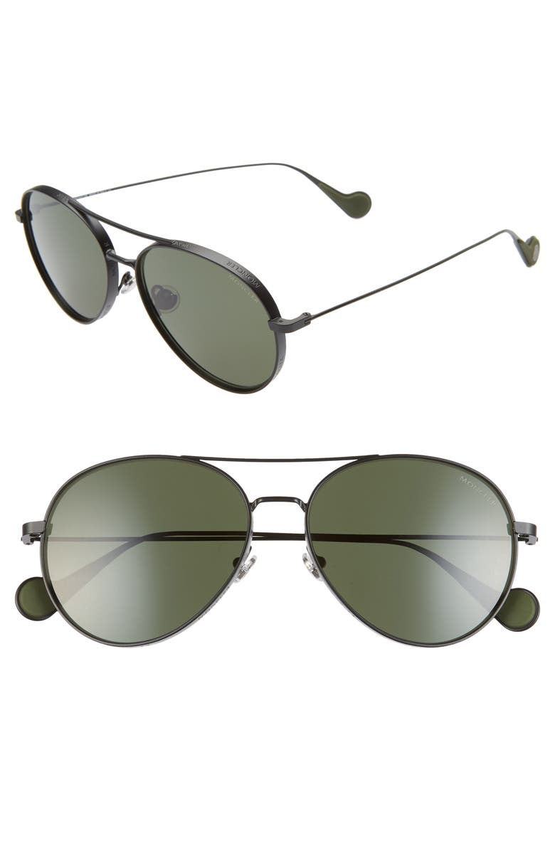 MONCLER 57mm Polarized Aviator Sunglasses, Main, color, BLACK/ GREEN POLARIZED
